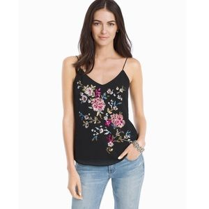 NWT WHITE HOUSE BLACK MARKET FLORAL SEQUIN TOP